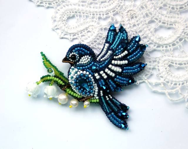 Beading, beaded blue bird, bead work