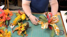 DIY Fall Lantern Swag -How to Make a Funky Bow to use in a Lantern Swag