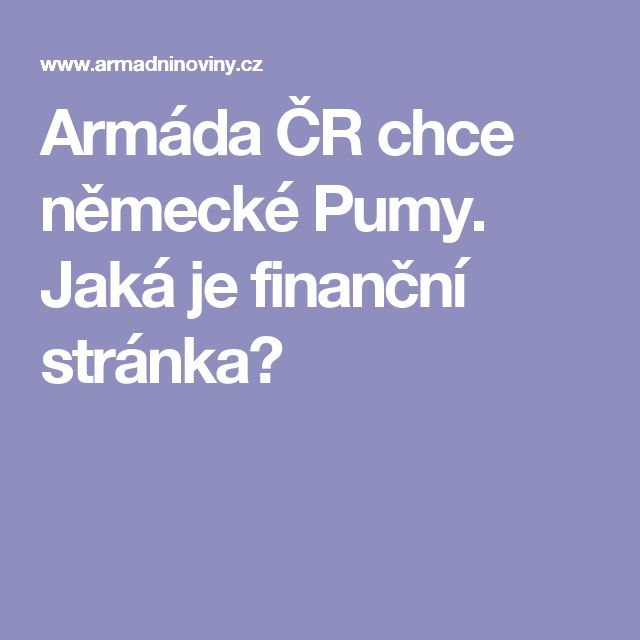 Armáda ČR chce německé Pumy. Jaká je finanční stránka?