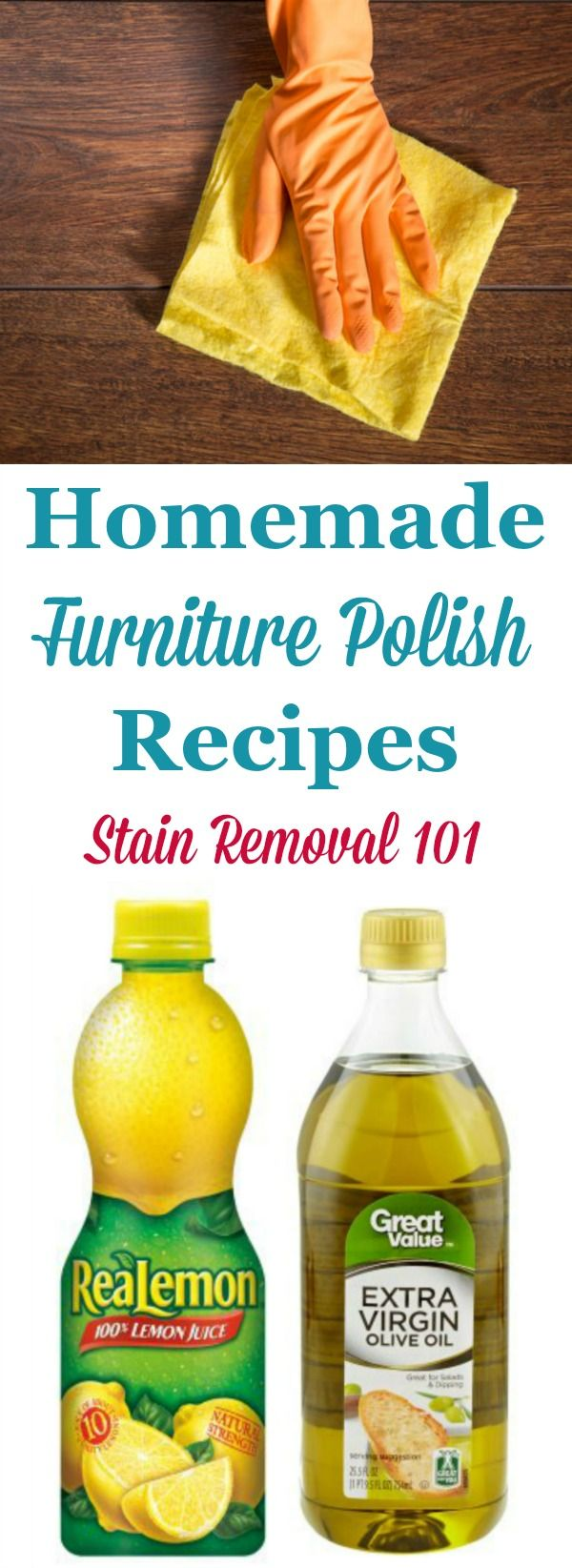 Two natural homemade furniture polish recipes that make wood furniture look great for less {on Stain Removal 101}