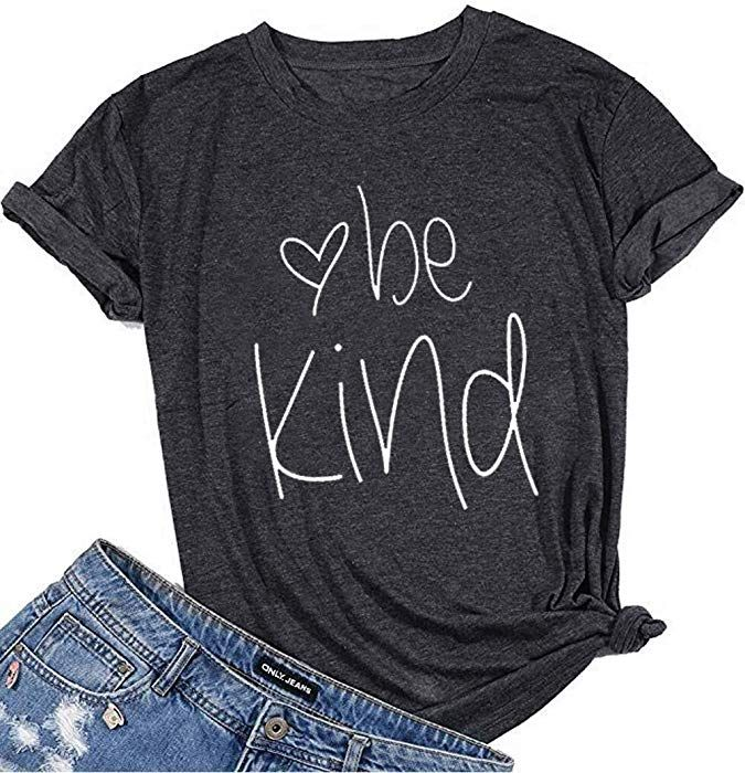 Womens T Shirt Summer Letter Print Short Sleeve Loose Tops Graphic Tees