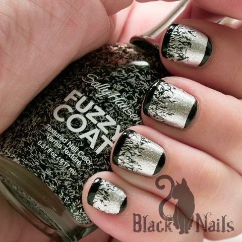 """Tweedy Tip & Moons Nails - Simple look using Sally Hansen fuzzy coat as a glitter gradient over Orly """"Dazzle"""". Add black tips and moons for a sleek black and white nail design."""