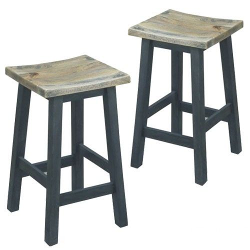 Set of 2 - Osaka Bar Stool - Black Base With Timber Seat