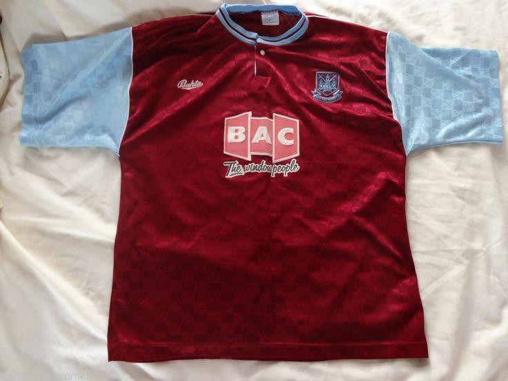 Vintage Authentic west ham United M Bukta home 1990 - 91 Football Soccer shirt