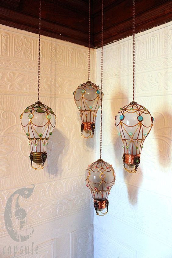 Hot air balloon ornaments made with light bulbs