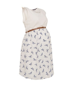 Cream (Cream) Maternity White and Blue Bird Print 2in1 Dress | 269873813 | New Look 30€