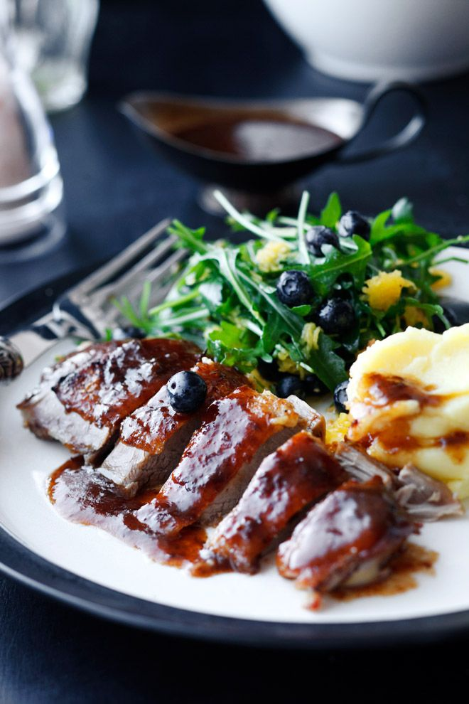 Roasted Duck with Plum Sauce and Potato Puree with Wasabi