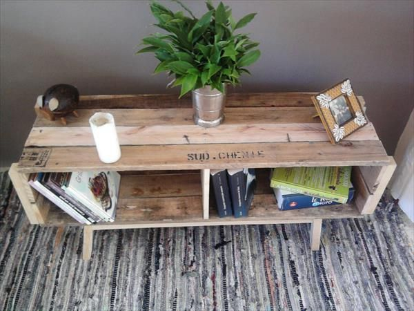 DIY Pallet Coffee Table with Storage for Books | Pallet Designs