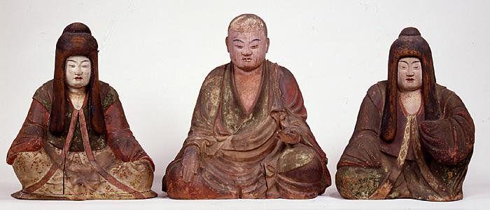 薬師寺三神像:僧形八幡神(1)を中心にし、右に神功皇后(2)、左に仲津姫命(3)を配した三神一具の像。現存最古のの木造神像の一つ。