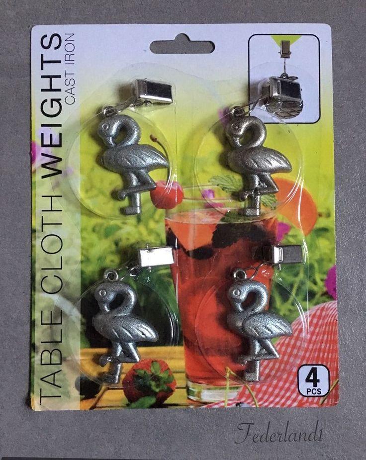 4 Tischdeckenbeschwerer Tisch Tischdecke Outdoor Garten Küche Flamingo Gusseisen  | eBay