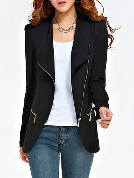 Stylish Lapel With Pockets With Zips Jackets