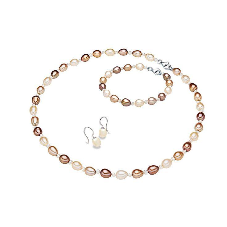 Set Valero Pearls Cappuccino Perlat (cercei, colier, brățară)