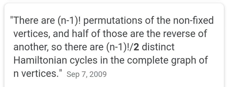 No of Hamilton cycles in a complete graph