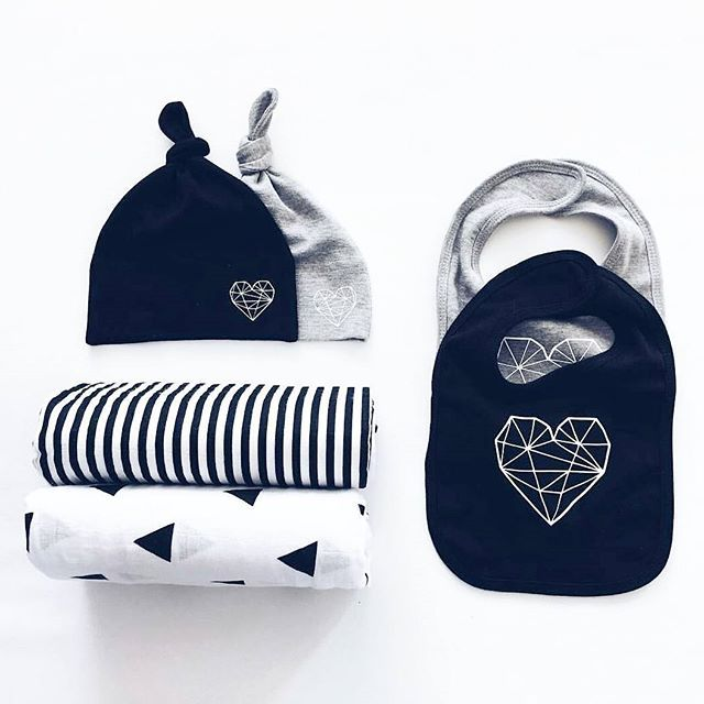 Chic and modern black and white baby essentials.