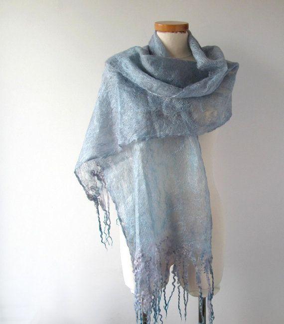 Cobweb Felted scarf Grey Blue Light Scarf Wedding by galafilc