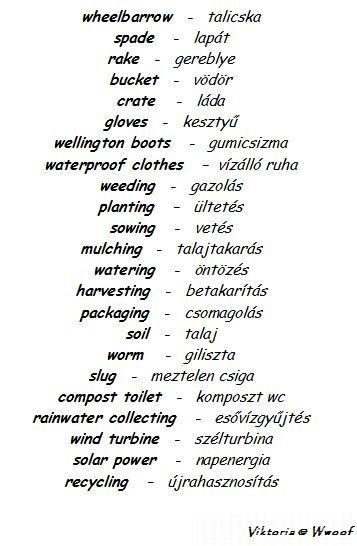 English - Hungarian garden vocabulary