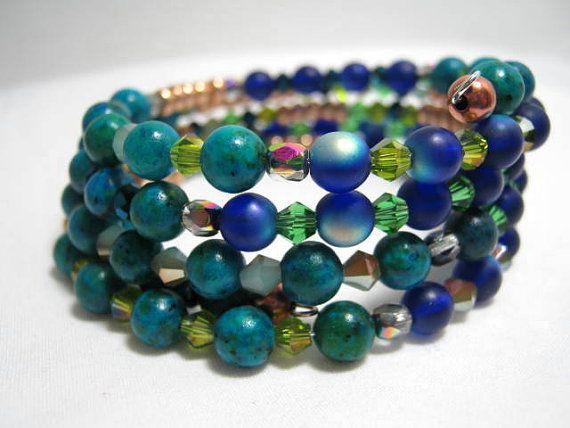 Cat's Eye Beads Memory Wire Bracelet Wrap Memory Wire
