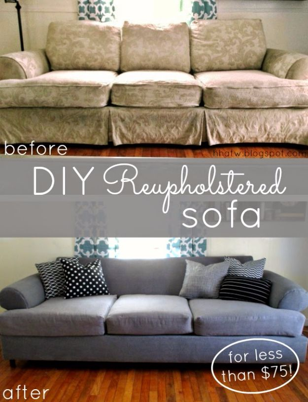 DIY Sofas and Couches - DIY Couch Reupholster With a Painter's Drop Cloth - Easy and Creative Furniture and Home Decor Ideas - Make Your Own Sofa or Couch on A Budget - Makeover Your Current Couch With Slipcovers, Painting and More. Step by Step Tutorials and Instructions http://diyjoy.com/diy-sofas-couches