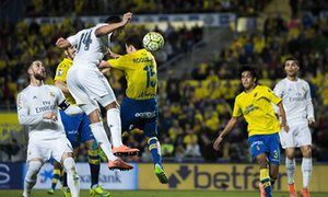 Casemiro heads home Real Madrid's winner at Las Palmas.