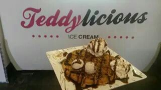 Freshly made waffle with cookies and cream premium ice cream, raffaello chocolates drizzled with Nutella and topped with fresh cream at #Teddylicious in Tipton