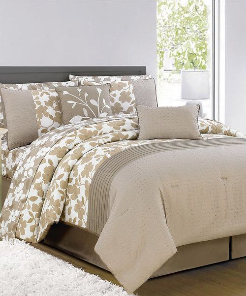 take a look at this duck river textile taupe u0026 chocolate leila comforter set on zulily today