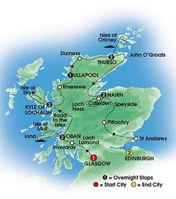 2014 SCOTTISH ISLES & GLENS 13 day Escorted Coach tour of Scotland - First Class & Highland Hotels - Overnights:  1 Glasgow, 2 Oban, 2 near Kyle of Lochalsh, 1 Ullapool, 2 Thurso, 2 Nairn, 2 Edinburgh. Starts Glasgow/Ends Edinburgh - CIE Tours