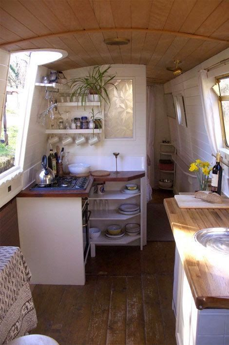 a simple life afloat   Narrow boat galley...can this somehow be the inside of an old narrow trailer?