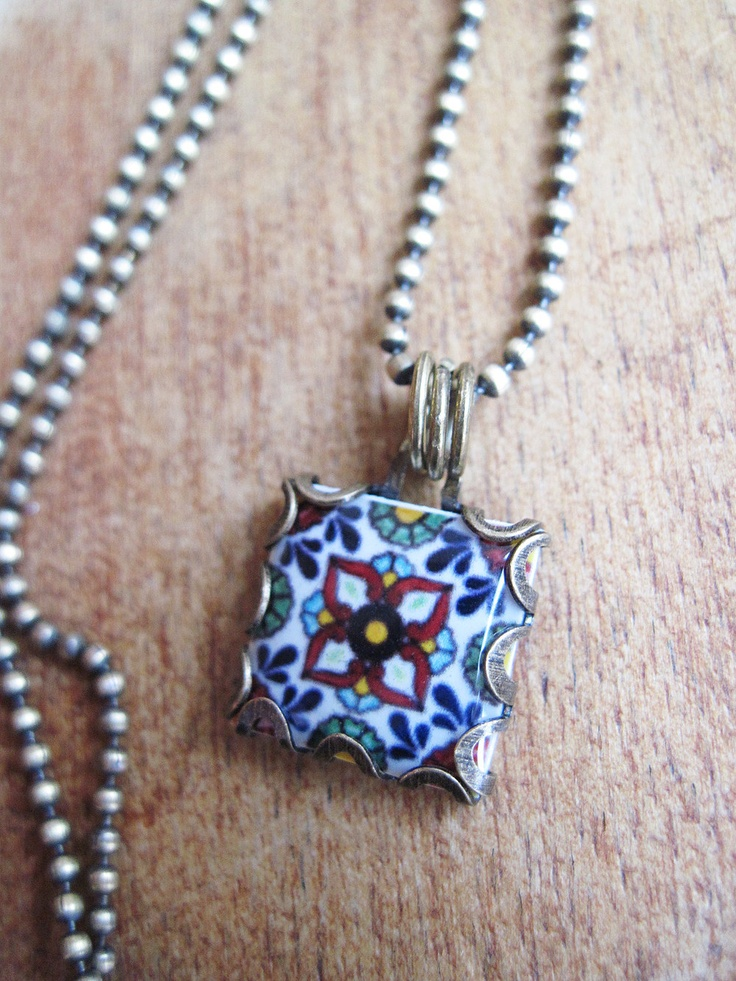 Mexican Jewelry, Mexican wedding, Southwestern Pottery design jewelry, Gypsy jewelry,  Mission style, Mexican Folk Art tile necklace. $30.00, via Etsy.