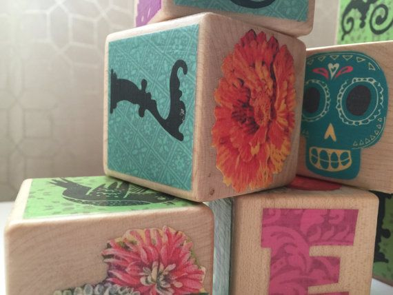 Mexican Day of the Dead Wooden Baby Blocks  Custom by Rodwoods