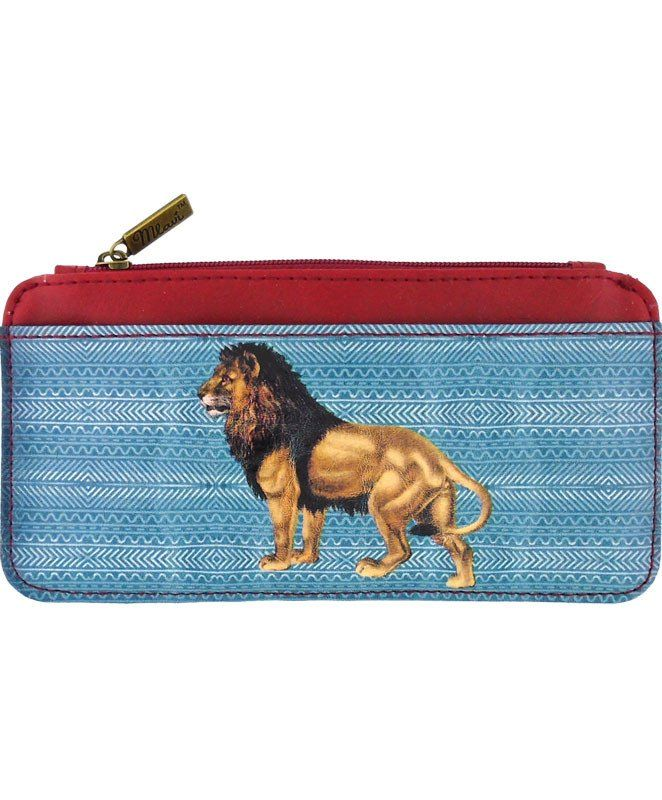 Vegan leather lion card holder / card case made with SGS Certified toxic-free Eco-friendly materials. It can carry cards, smart phone, coins & used as bag switcher. by Mlavi Studio. Wholesale available at http://mlavi.com/mlavi-animal-themed-vegan-bag-wallet-and-accessories-wholesale.html