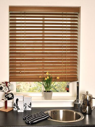 Burnished Oak Wooden Blind - available in 50mm, 35mm and 25mm slats, this beautiful dark oak wooden blind will be a lovely contrast in your room whilst still giving it a natural, rustic feel. #blinds #wooden #venetian