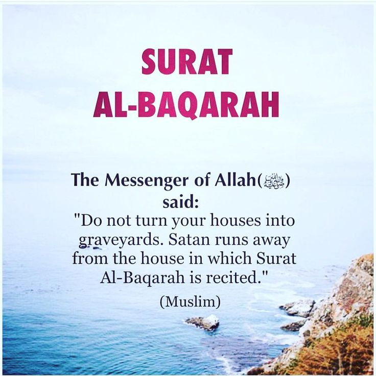 """Abu Hurairah (May Allah be pleased with him) reported: I heard the Messenger of Allah (ﷺ) saying: """"Do not turn your houses into graveyards. Satan runs away from the house in which Surat Al-Baqarah is recited."""" [Muslim]. reference : Book 9, Hadith 28 Arabic/English book reference : Book 9, Hadith 1018"""