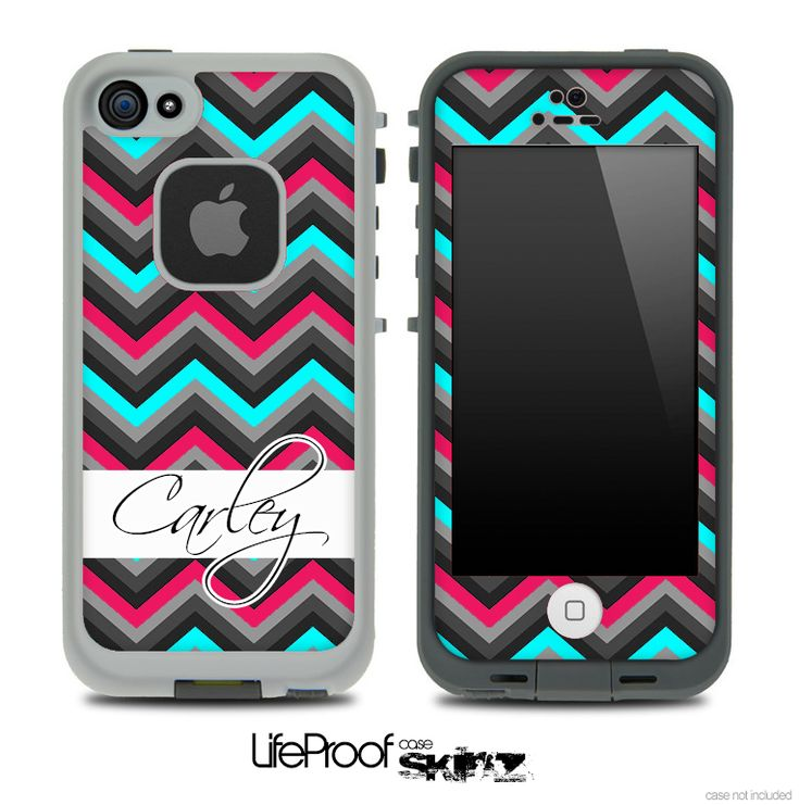 Name Script Turquoise and Pink Chevron V4 Skin for the iPhone 5 or 4/4s LifeProof Case
