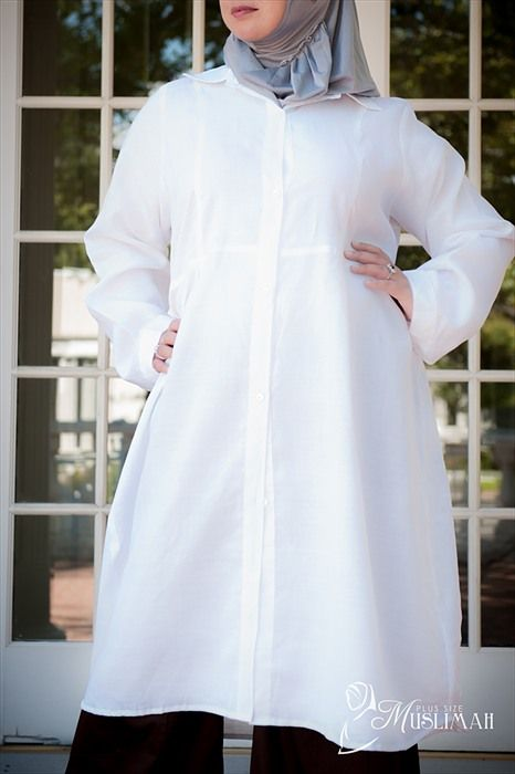 White Linen-Woven 100% Cotton Long Tunic - $34.99 : Affordable Plus Size Islamic Clothing | plussizemuslimah.com, Plus size Islamic dress for women. Get trendy Islamic clothing in plus sizes, plus size abayas, plus size jilbabs, and more.