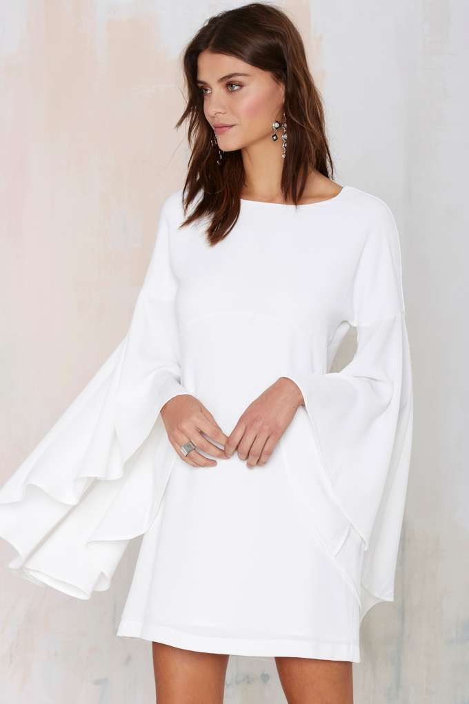 Nasty Gal Hells Bells Crepe Dress - Ivory - Clothes | Dresses | All | Dresses | Going Out | LWD | Dresses | Extra TV- Gladiators