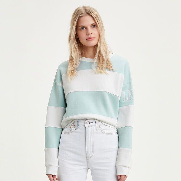 Levi S Australia Colorblock Diana Crewneck Sweatshirt Baby Blue And White In 2020 Crew Neck Sweatshirt Clothes For Women Sweatshirts
