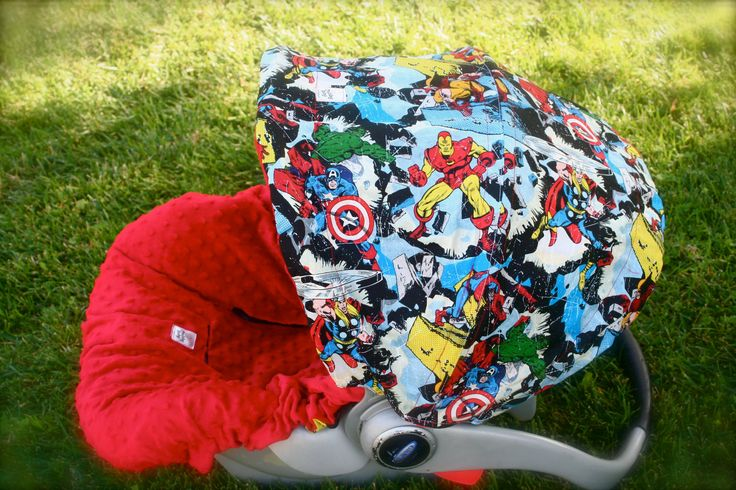 Infant Car Seat Cover- Super Hero's with red Minky. $75.00, via Etsy.