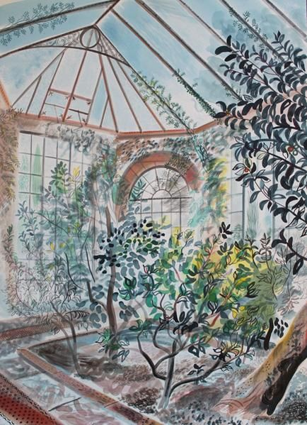 """The Camellia House, Yorkshire Sculpture Park"" by Emily Sutton (watercolour and ink)"