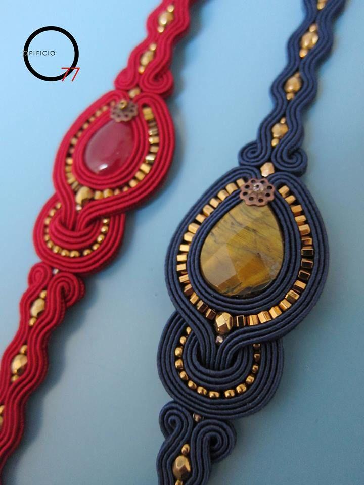 Bracciali soutache rosso e blu notte con gocce in pietra dura (giada colorata e occhio di tigre), perline rocailles, e cristalli sfaccettati. Giada Zampar -Opificio77-