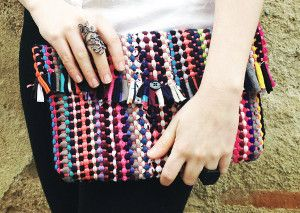 DIY Rug Clutch | Can you believe this colorful clutch is made from a rug!