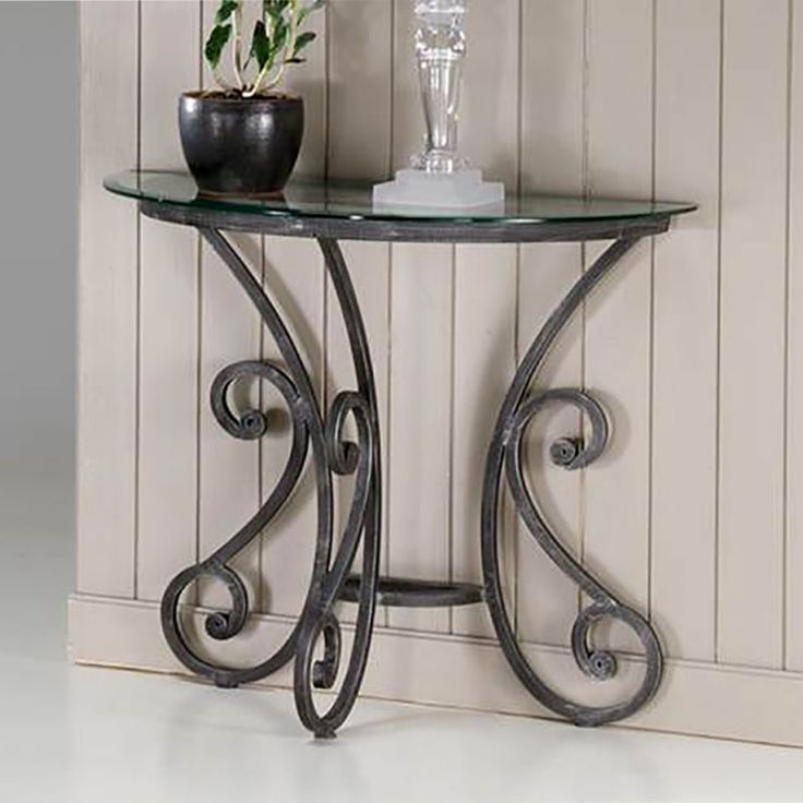 Console demi lune fer forg fiona meuble console for Fer forge meuble