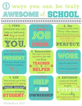 Free Classroom Motivational PosterHelp your students develop internal motivation and a growth mindset using this 9 Ways to be Awesome at School free motivational poster download. This poster will encourage students to find meaning and purpose in their work at school.