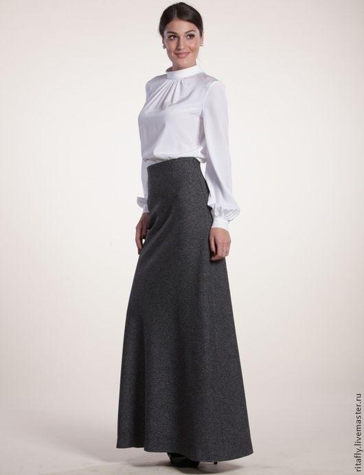 Шерстяная макси юбка