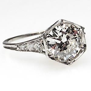 Vintage 1930's Antique Diamond Engagement Ring w/ Accents Solid Platinum - Weston Fine Jewelry