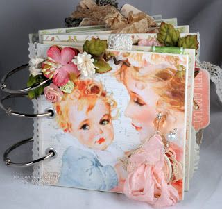 """Baby Mini Album using Graphic 45 """"Little Darlings' collection"""