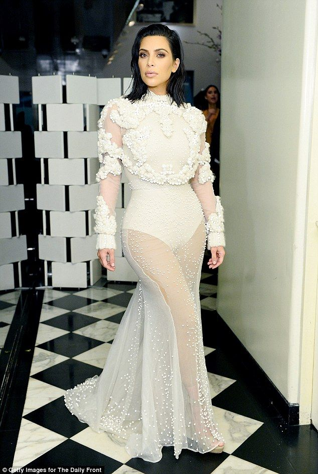 Elegant: Kim Kardashian looked beautiful at the2017 Fashion Los Angeles Awards at the Sunset Tower hotel in West Hollywood on Sunday
