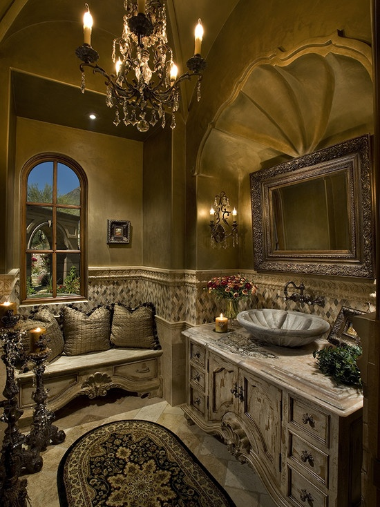 Mediterranean Powder Room Design, Pictures, Remodel, Decor and Ideas