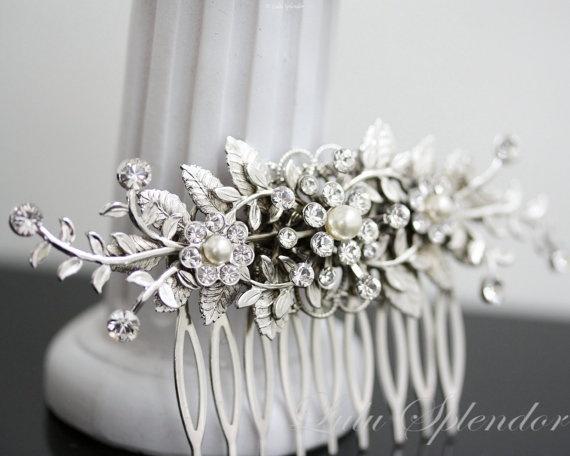 Bridal Comb Vine Leaf hair comb pearl rhinestone Wedding Hair Accessories GENOA DELUXE.