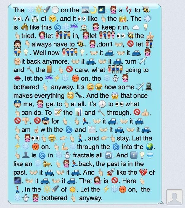 """1.   Your Favorite Disney's """"Frozen"""" Lyrics Reenacted In Emojis Frozen emoji lyrics let it go"""