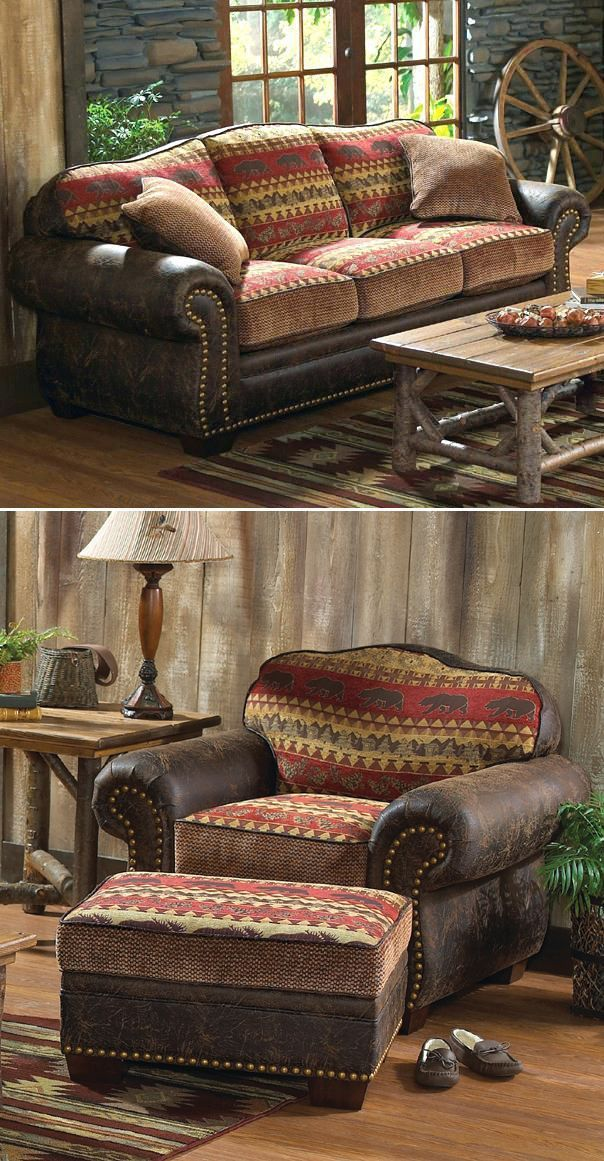 Bear Creek Sofa And Loveseat Rustic Sofa Rustic Living Room Furniture Lodge Furniture